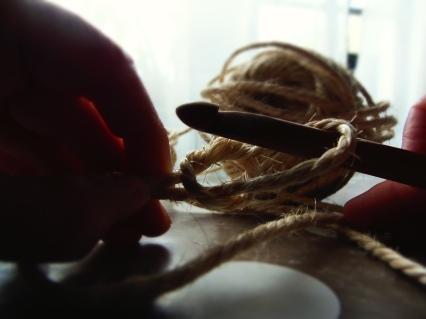 corbeille en corde au crochet