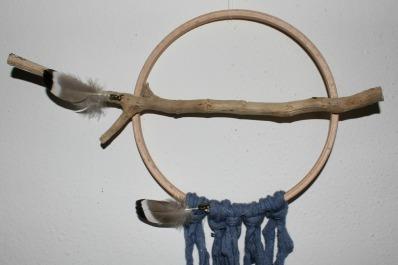 dreamcatcher batz, bois flotté et plumes