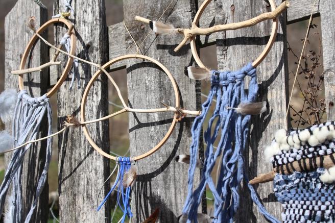 dreamcatchers bleus et bois flottés