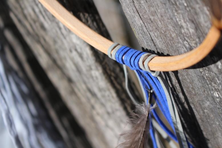 détail cordon cuir bleu électrique