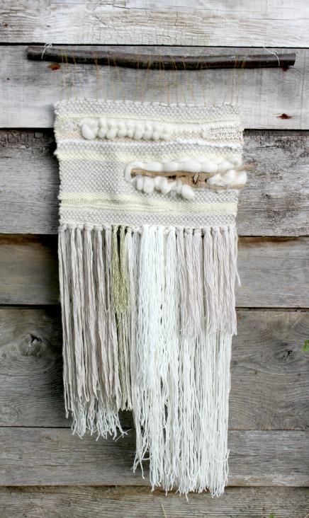 tissage mural driftwood blanc et crème