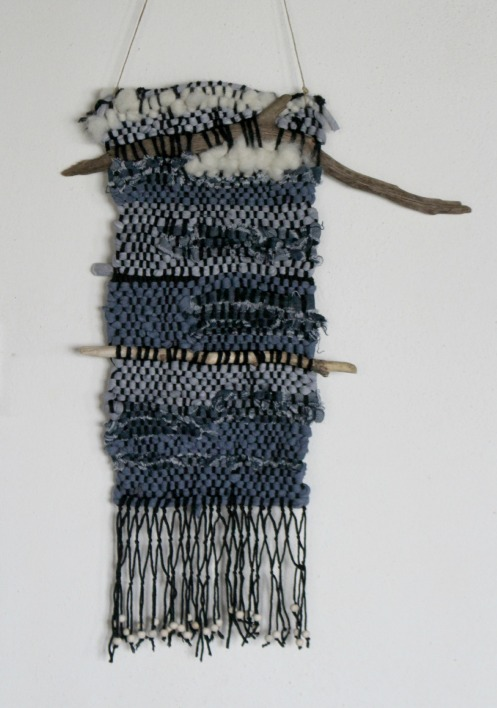 modern weaving, jeans, blue and driftwood