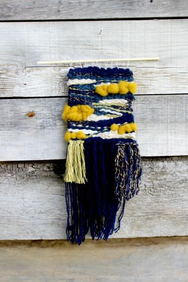 tissage woodhappen, jaune moutarde, cuivre et bleu marine