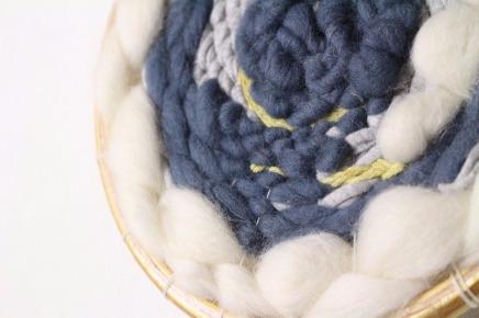 décoration murale tissée en rond laine