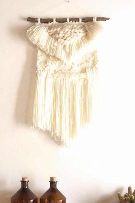 tissage mural en laine blanc